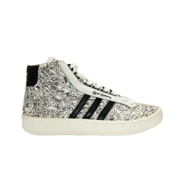 1d75e88338de Adidas Originals Jeremy Scott X Keith Haring 562891 Adicolor HI BK2  White Black