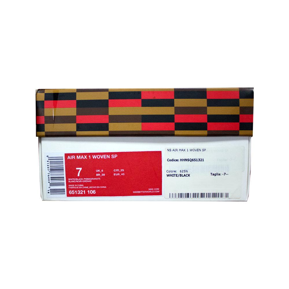on sale 71ce4 7ec61 Nike Air Max 1 Woven SP Jacquard 651321-106 White Black Pomagranate