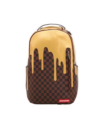 Sprayground Gold Checkred Drips Backpack Zaino