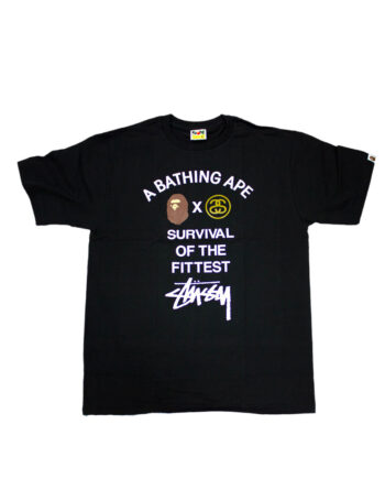 Stussy Bape Surivival Of The Fittest Black Tee Limited Edition