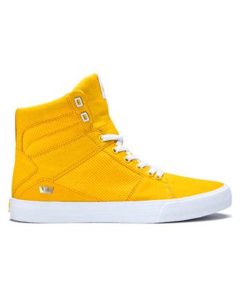 Supra Aluminum Hi Skate Shoes Caution White