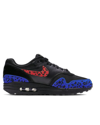 Nike W Air Max 1 Premium Animal Woman Shoe Black / Habanero Red Racer Blue