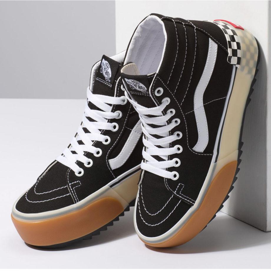 Vans Sk8-Hi Stacked Shoes Black Checkerboard