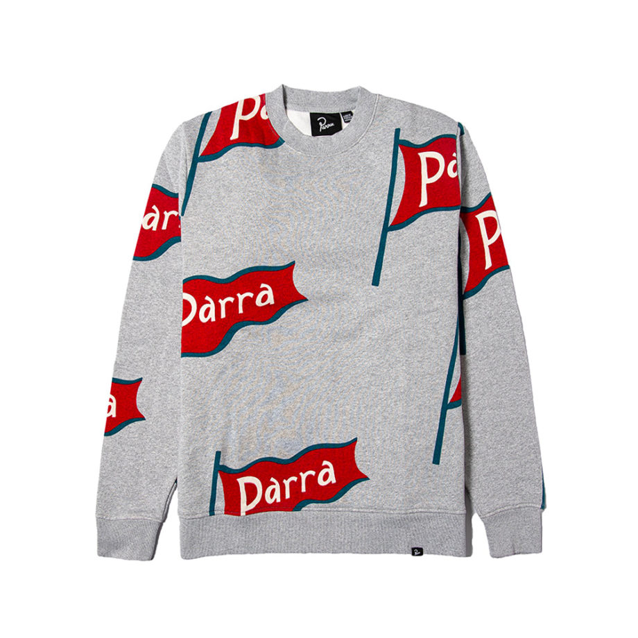 By Parra Flapping Flag Crewneck Sweatshirt Heather Grey