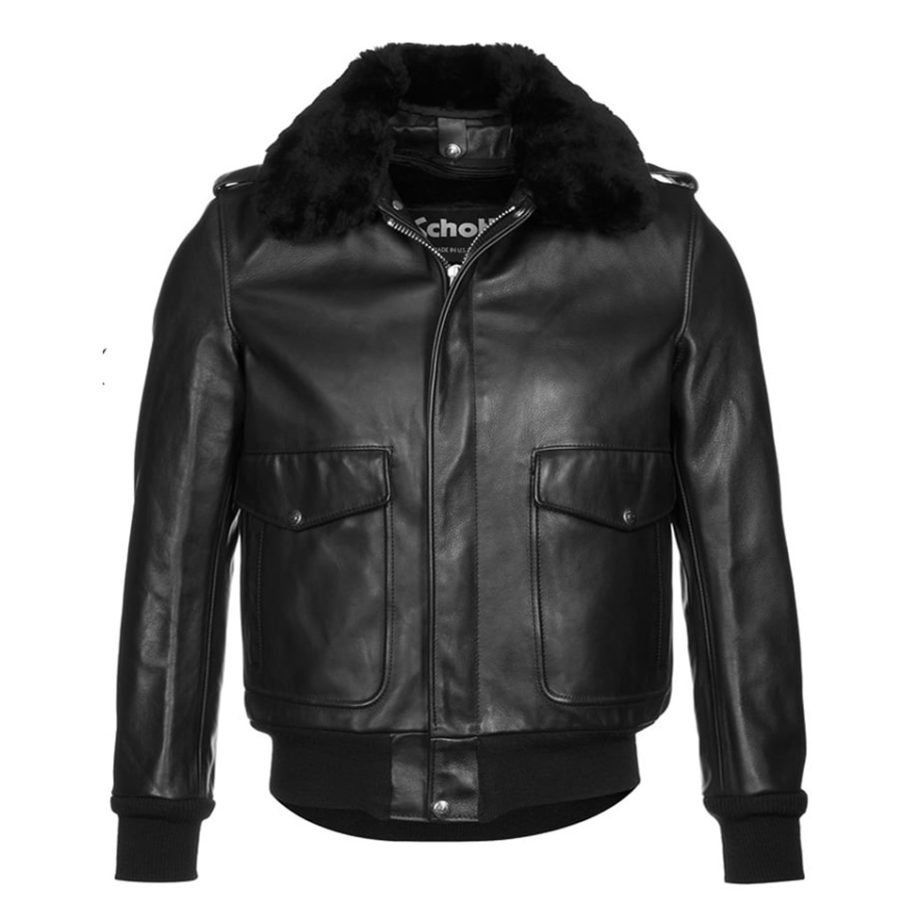 Schott NYC Leather Flight Jacket 184SM Black