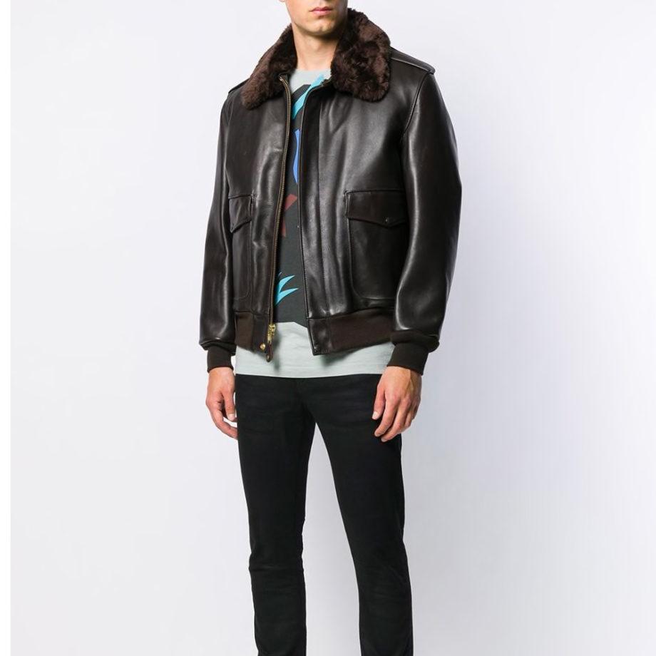 Schott NYC Leather Flight Jacket 184SM BROWN
