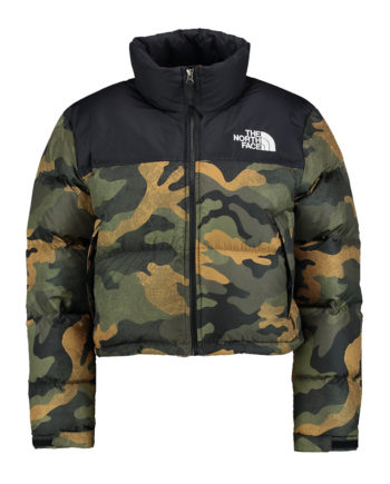 The North Face Nuptse Crop Woman Jacket BURNT OLIVE GREEN WAXED CAMO PRINT
