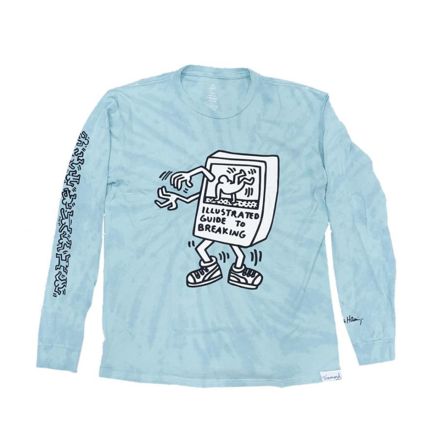 Diamond Supply Co. X Keith Haring Breakdance Longsleeve Tee Light Blue