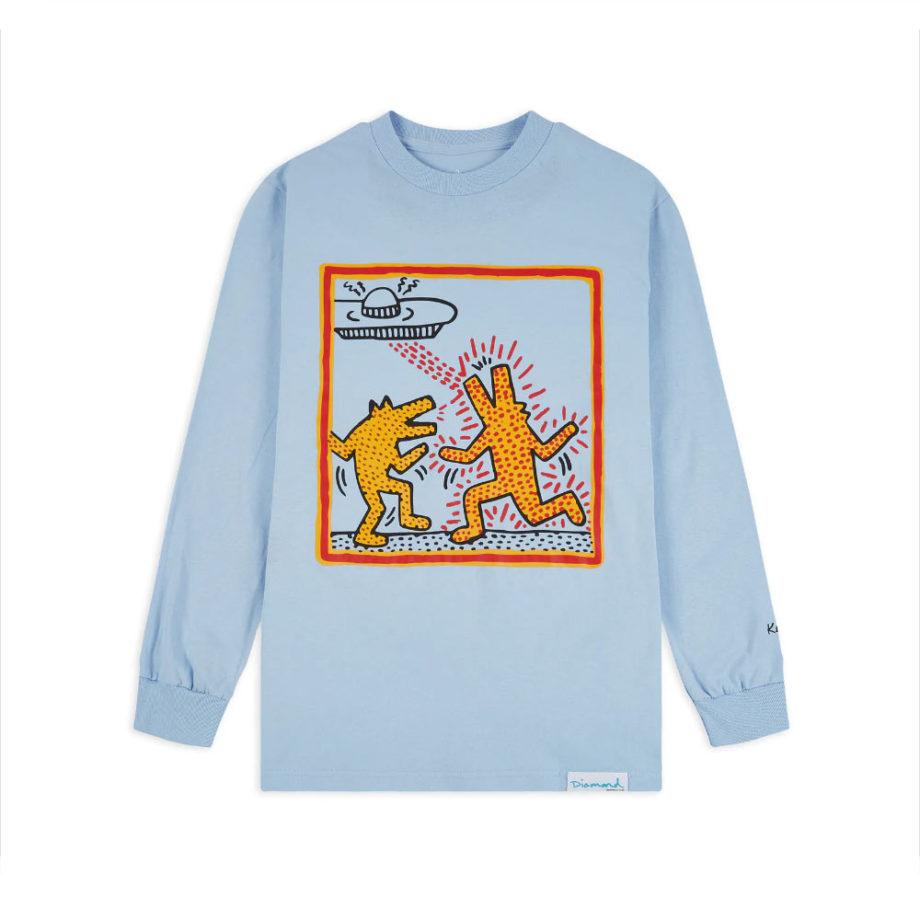 Diamond Supply Co. X Keith Haring Howlin Wolf Longsleeve Tee Sky Blue