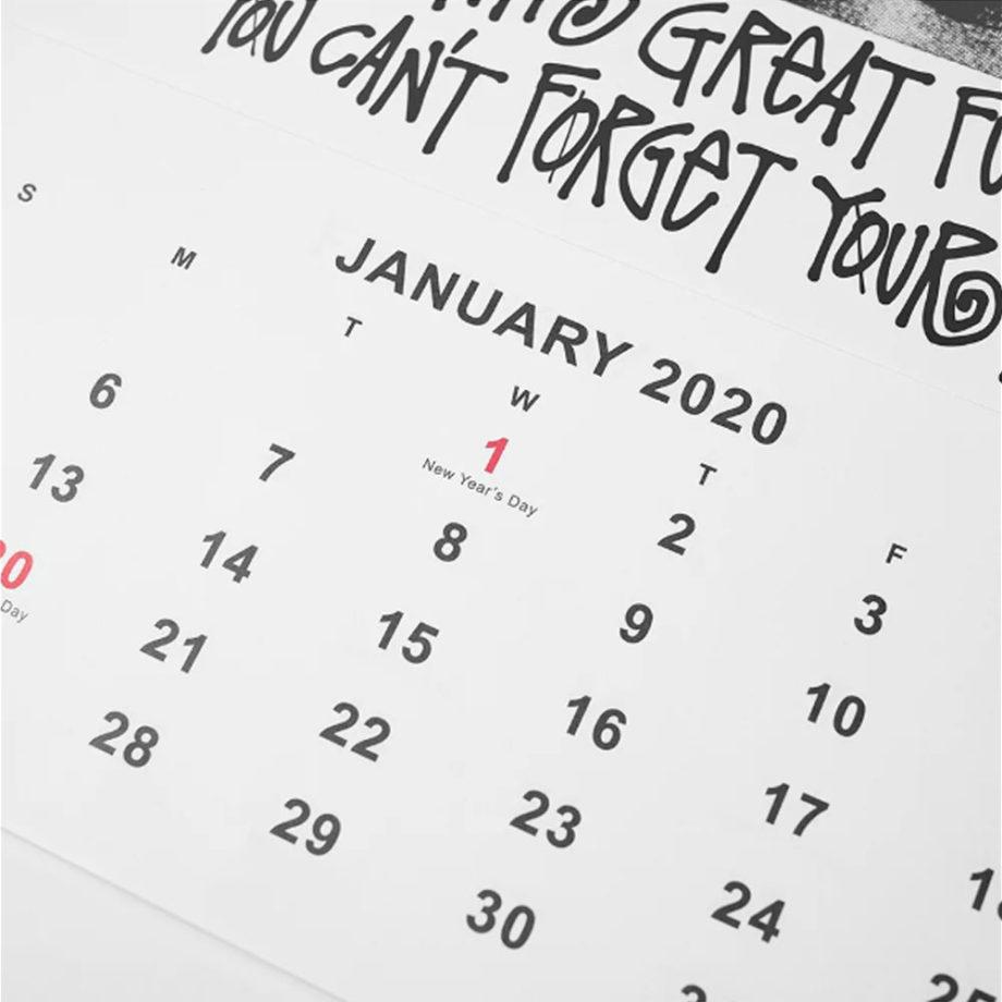 Stussy 2020 Wall Calendar White Botticelli Bob Marley