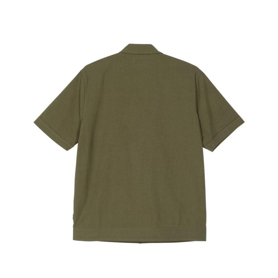 Stussy Striped Knit Panel Shirt Olive 1110093
