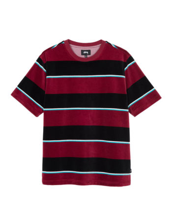 Stussy Velour Stripe Shirt Wine 1140196
