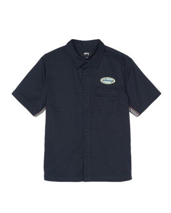 Stussy Side Taped Garage Shirt Navy 1110091
