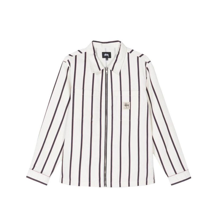Stussy Zip Up Work Shirt Stripe 1110092