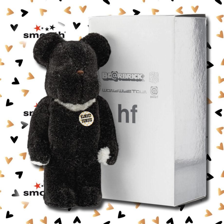 Medicom Toy HF Flocked Black World Wide Tour BWWT Bearbrick 400% Hiroshi Fujiwara