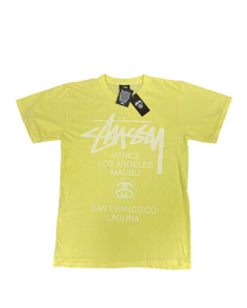 Stussy Light Yellow SC WS World Tour Tee Limited Edition SMSC3903039