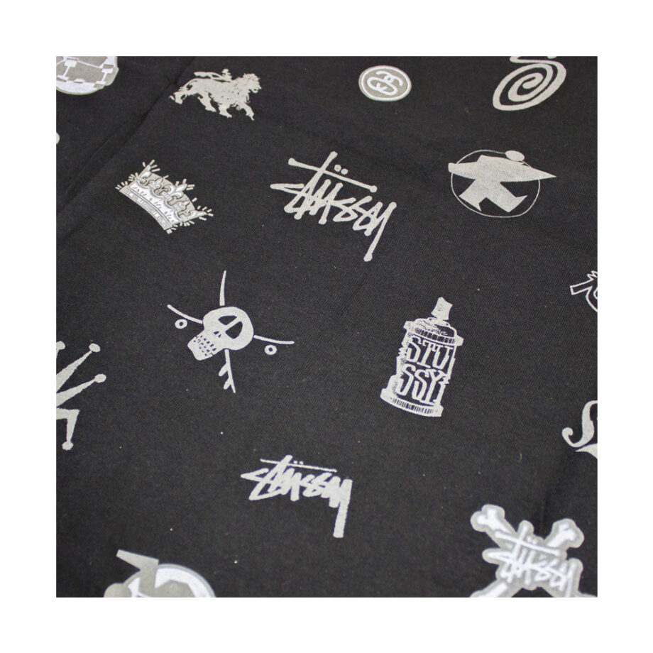Stussy Lotsa Logos All Over Print Black Tee Limited Edition 1901156