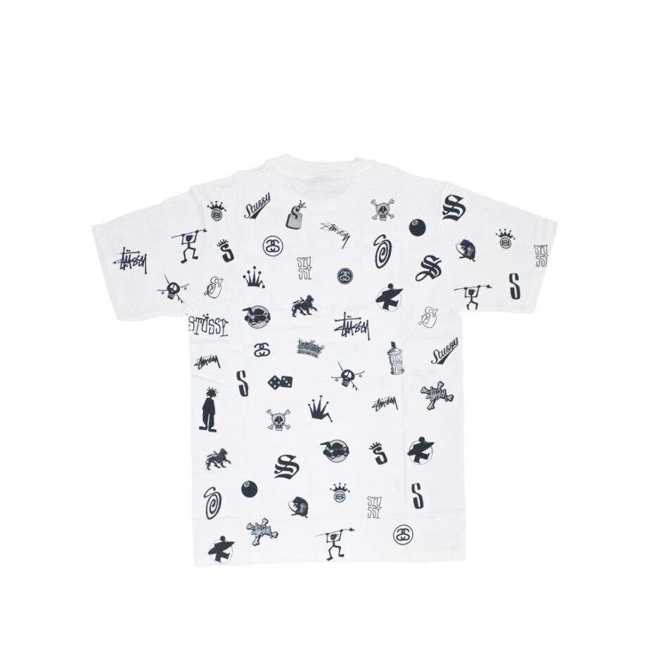 Stussy Lotsa Logos All Over Print White Tee Limited Edition 1901156