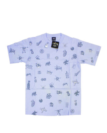Stussy Lotsa Logos All Over Print Lilac Tee Limited Edition 1901156