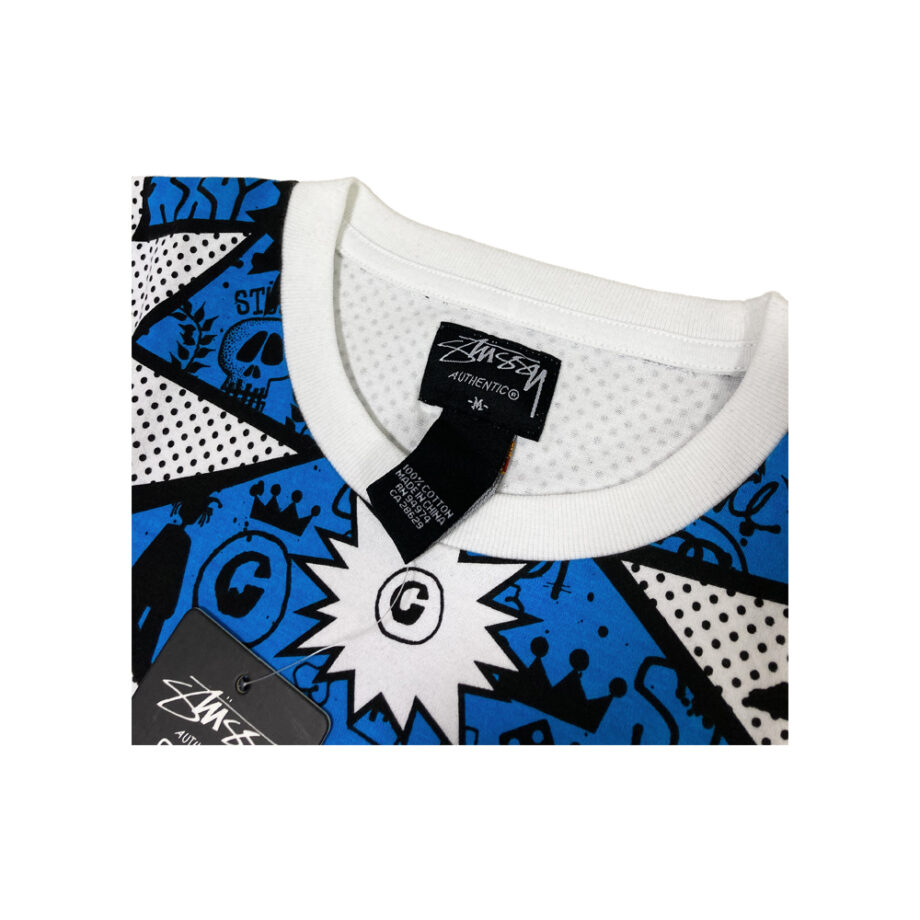 Stussy Increase The Pace All Over Print White / Blue / Black Tee Limited Edition