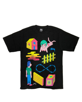 Stussy Customade x Pane Obstacle Course Black Tee Limited Edition FFSC3902212