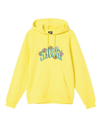 Stussy Collegiate Floral Hoodie Lemon 118392