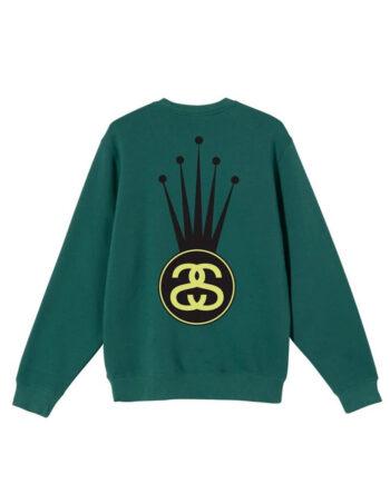 Stussy Crown Link Crew Sweater Dark Green 1914569