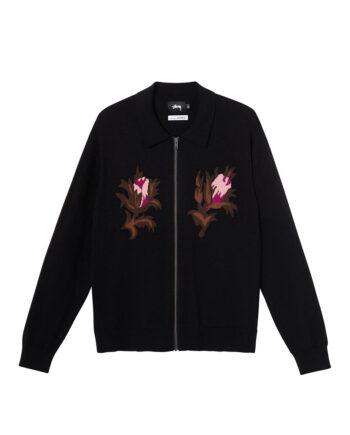 Stussy Rose Thorn L/SL Zip Sweater Black 117081