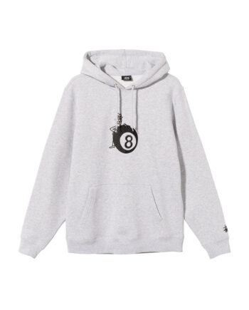 Stussy 8 Ball Man Embroidered Hoodie Ash Heather 118406