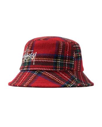 Stussy Big Logo Plaid Bucket Hat Red 1321014