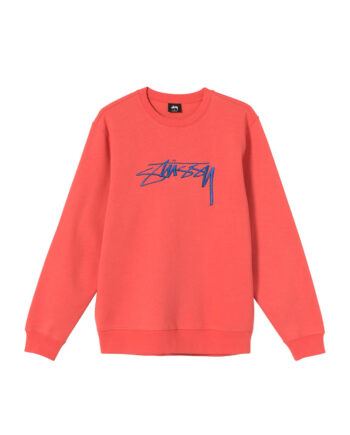 Stussy Smooth Stock Embroidered Crew Sweatshirt Pale Red 118405