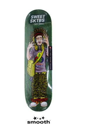 """Sweet Sktbs x Sean Cliver Euro Trash Green Skateboard Deck Green 7332846379310- 8.25"""""""