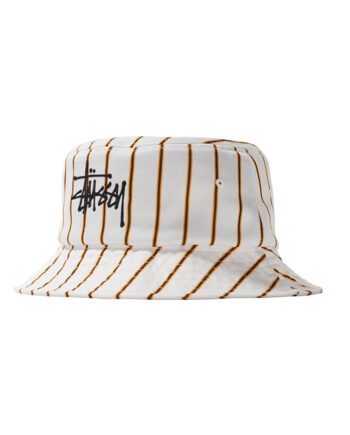 Stussy Big Logo Striped Bucket Hat Off White 132968