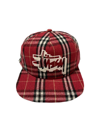 Stussy Scottish Tartan Logo Cap Red