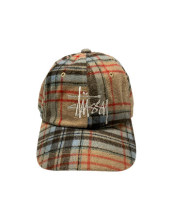 Stussy Big Logo Plaid Low Pro Cap Camel 131917