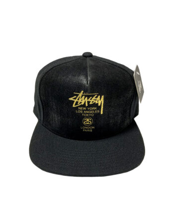 Stussy World Tour Leather Ballcap Black 131261