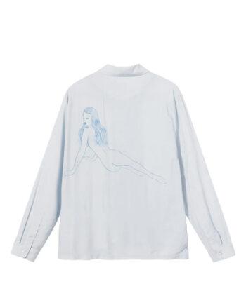 Stussy Pin Up Girl Ls Shirt Light Grey 1110164