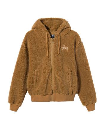 Stussy Sherpa Zip Hoodie Brown 118412