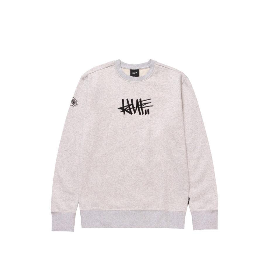 Huf x Haze Handstyle 1 Crew Neck Sweatshirt Athletic Heather PF00370