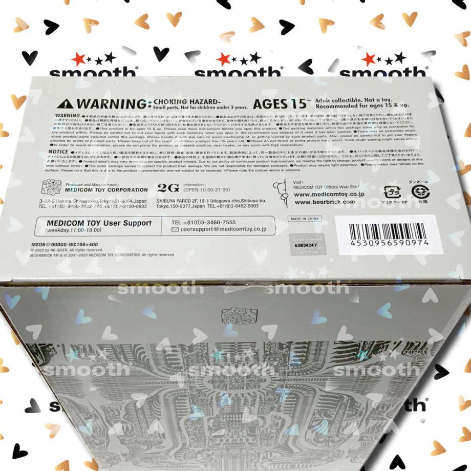 Medicom Toy H. R. Giger White Chrome Version Bearbrick set 100% 400%