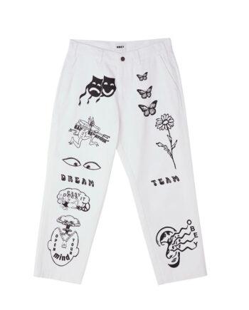 Obey Hardwork Printed Carpenter Pants White 142010075