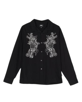 Stussy Embroidered Dragon Ls Shirt Black 1110067